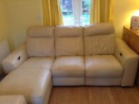 Leather sofa and 2 armchairs all electric recliners