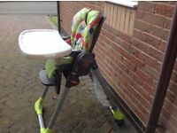 Chicco reclining adjustable high chair cost £100 sell £45 can deliver if you live local 07812980350