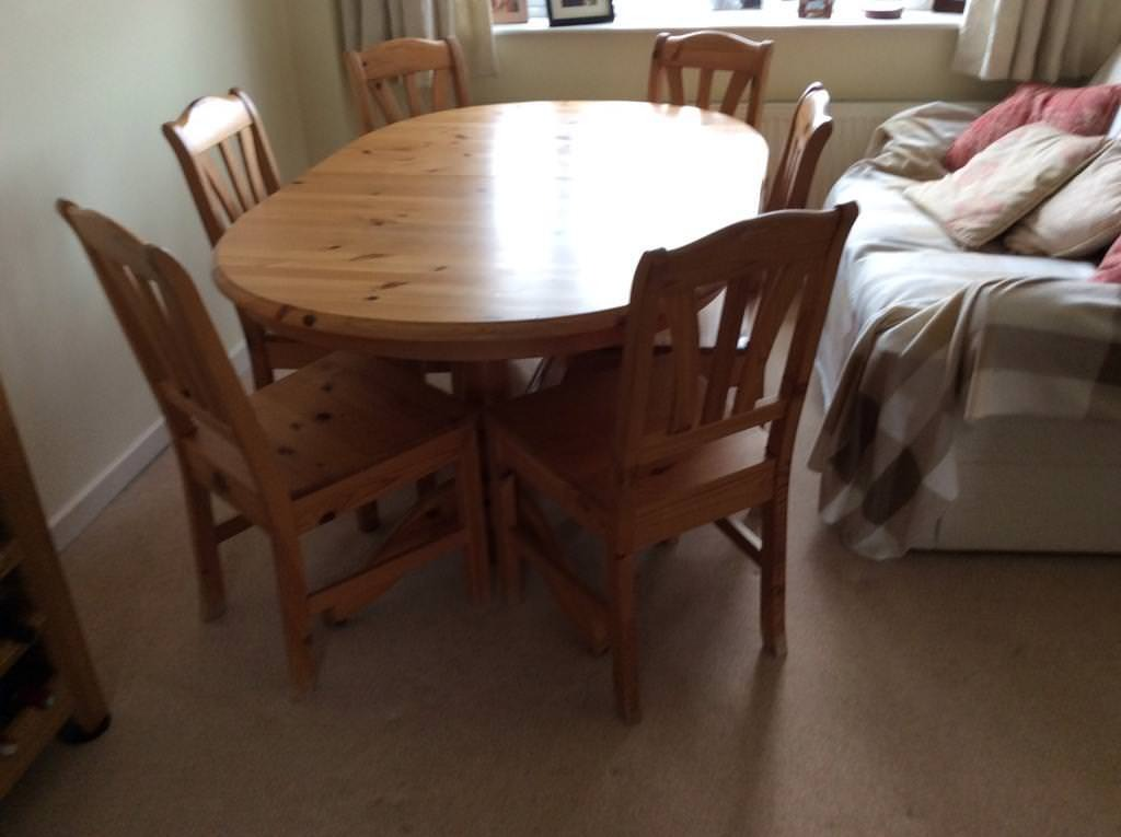 pine dining room table and six chairs  in gloucester