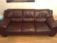 Three piece, brown leather suite- 3 seater, 2 seater & footstool with storage