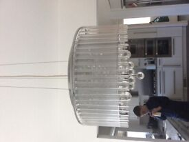 Crystal ceiling pendant and matching table lamp