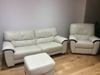 White leather sofa,armchair and foot stool