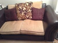 2x double leather and fabric sofas with all matching cushions