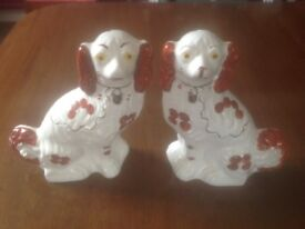 Pair of Staffordshire Mantle Dogs, stamped on base Made in England