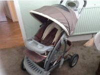 Mothercare pushchair brown & beige with raincover