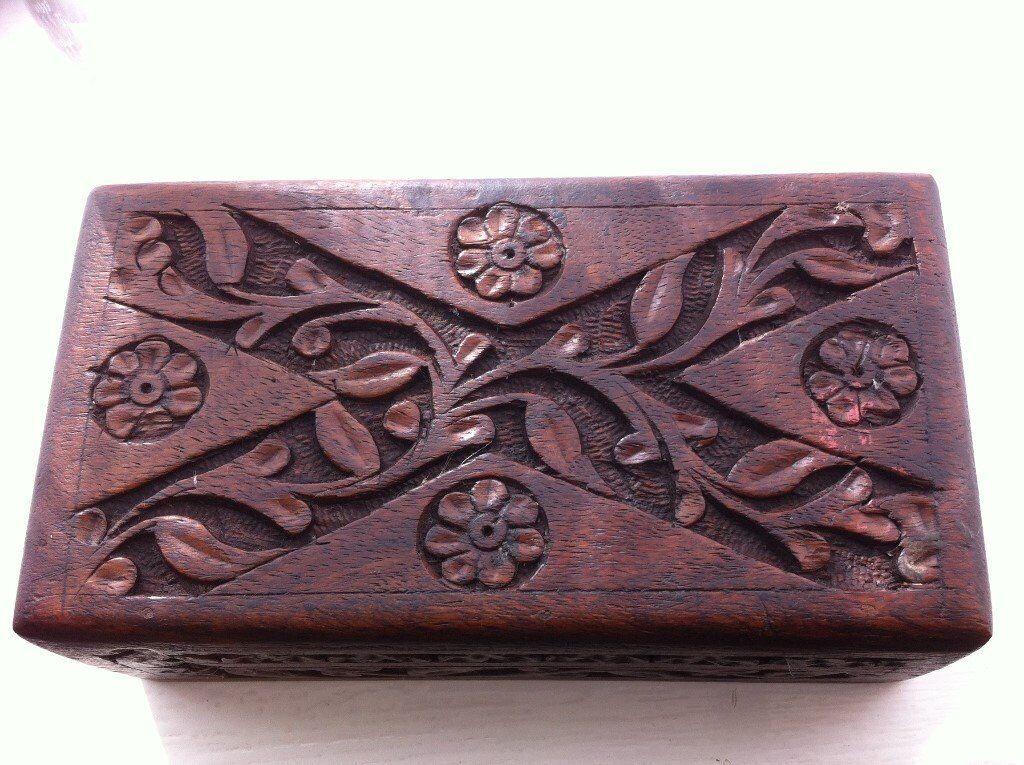 carved wooden hardwood trinket box/ card box etc: