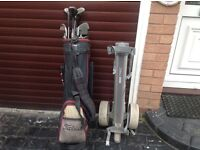 Golf bag clubs trolley tees and balls