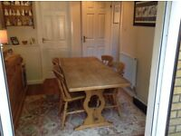 Solid Oak Dining Room Table plus 4 Chairs