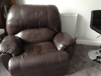 Genuine brown leather chair very comfy and in good condition