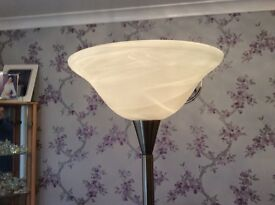 Antique brass effect up lights and corner lamp with marble effect shades