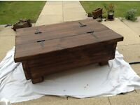 Handmade rustic chest coffee table solid timber waxed