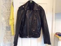 Retro style leather motorcycle jacket