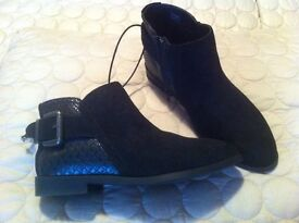 LADIES NEW WITH TAGS SUEDE BLACK ANKLE BOOTS SIZE 3