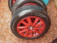 4 xSeat Ibiza alloy wheel and tyres 2016 model 15 inch