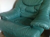 Leather sofa and two seats