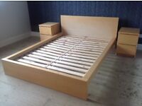 Double bed frame and 2 side cabinets