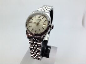 GENUINE LADIES ROLEX OYSTER DATE PERPETUAL WATCH STAINLESS STEEL WITH SILVER DIAL 69174 YEAR 1984