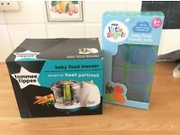Brand new Tommee Tippee baby food blender in box never opened, and baby food freezer pots