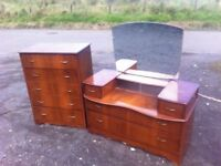 1950s dressing table & matching five drawer chest