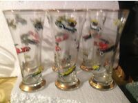 Lager glasses, vintage car motives