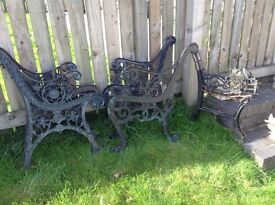 Winter Project - Reclamation Cast Iron Benches and Table Ends