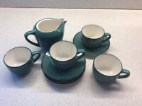4 espresso cups and saucers teal green