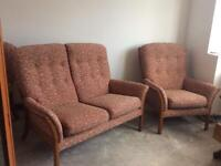 Vintage Parker Knoll sofa and 2 arm chairs