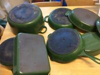 6 Le Creuset pots and 1 Chasseur pot