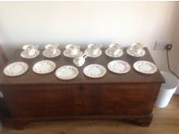 Bone China: Royal Albert Dimity Rose 6 cups, saucers, tea plates and milk or cream jug.
