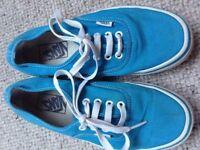 Vans turquoise blue canvas shoes pumps trainers unisex boys girls size 3