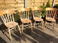 Solid Beech Chairs x 4