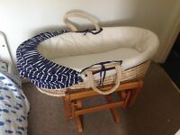 Mothercare boys Moses basket and gliding stand