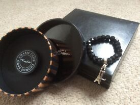Thomas Sabo Black bead bracelet plus 2 charms