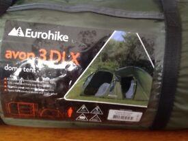 New eurohike avon3 DLX dome tent.