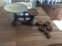 Weighing Scales with Six Weights needing refurbishment very old.