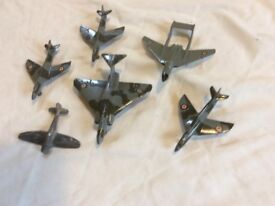 Dinky model planes - 1 tempest; 3 hawker hunters; 1 sea vixen; 1 gloucester javelin unboxed