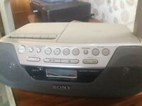 Sony portable stereo with cassette, cd and radio