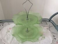 Vintage Green Glass 2 Tier Cake Stand.