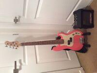 Gear4Music Pink Bass Guitar