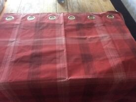 Next blackout curtains. Red tartan/check pattern. Immaculate. Incl matching double duvet cover.