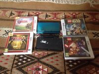 Nintendo 3DS aqua blue with ZELDA link between worlds and ocarina of time and 2 Star Wars games