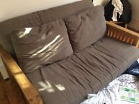 2 Seater solid oak sofa bed