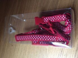 Brand New Small Dog Harness - Red with white dots