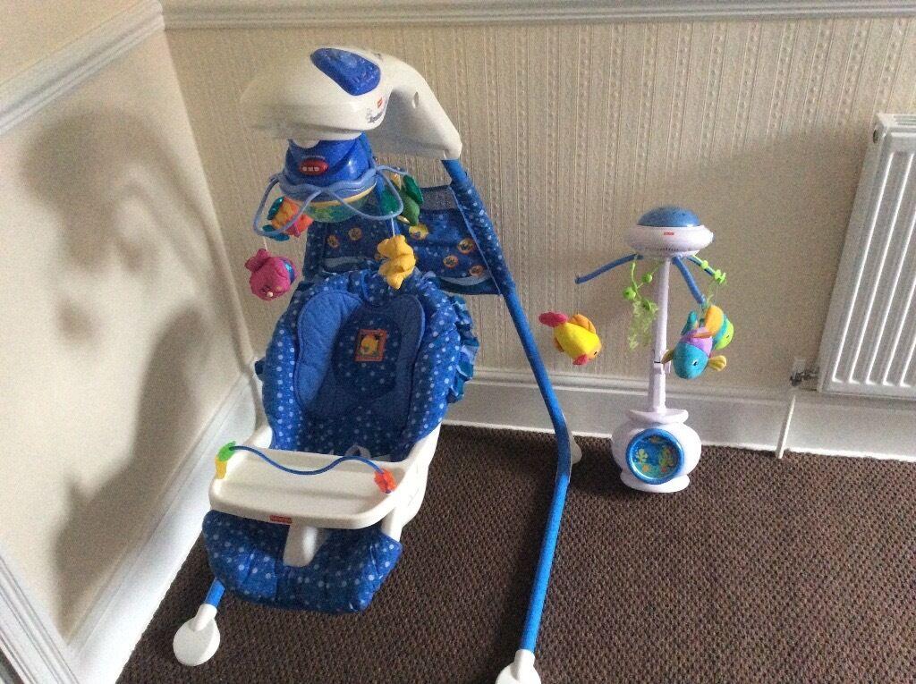 Fisher price aquarium cradle swing+ Cot mobile