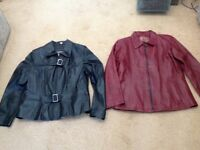 Two ladies leather jackets size 14