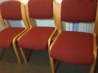 3 pine upholstered chairs