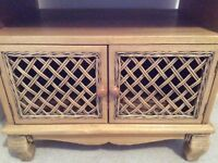 Pine coloured and ratten media unit