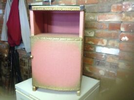 Bedside Cabinet. Vintage style. Pink and gold. Perfect condition.