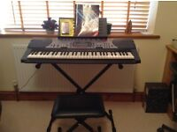 Casio LK 60 keyboard, stand and stool