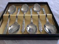 Boxed Set Of Chrome Plated Apostle Tea Spoons. Unused.